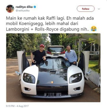 Twitter Ditjen Pajak Untuk Raffi, Tidak Maksud Menyindir Hanya Mengingatkan